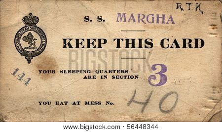 NEWBURG, NEW YORK - CIRCA 1918: WWI Soldier'Ã??Ã??s Cunard Margha Steam Ship ticket from Newburg, NY to London, England showing assigned sleeping quarters & mess hall during WWI, circa 1918.