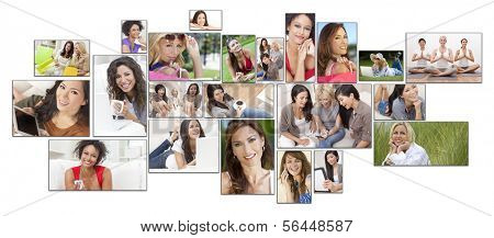 Interracial mixed race women enjoying a healthy active lifestyle relaxing at home, outside, using laptop computer, mobile cell phone, shopping, drinking tea & coffee, listening to music, working out