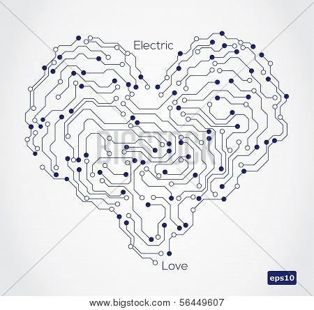 Electronic circut board in shape of heart.
