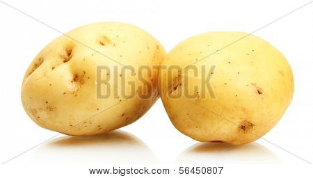 fresh potatoes isolated on white
