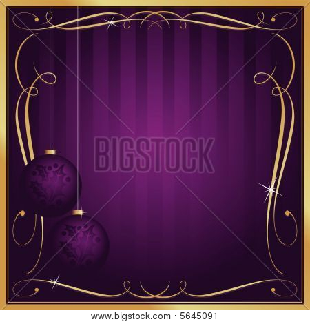 Ornate Purple Christmas Card or Tag with Copy Room