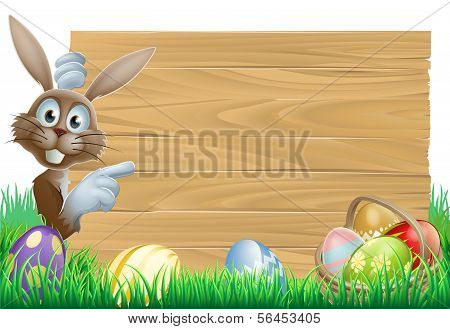 Easter Bunny Pointing At Sign