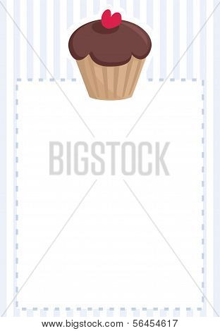 Vector document template, restaurant menu, wedding card, list or baby shower invitation with cupcake
