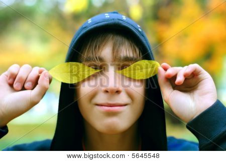 teenager in the autumn
