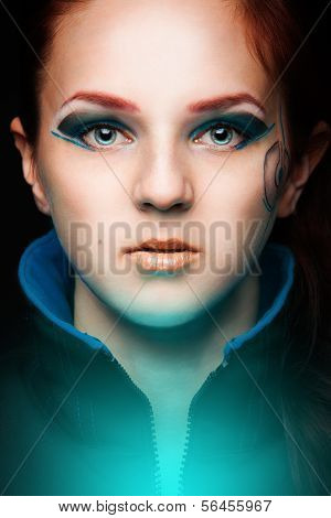 Portrait of futuristic woman