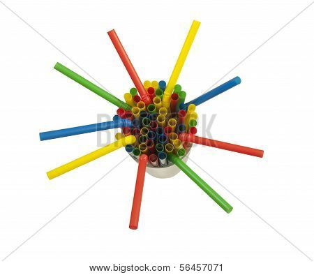 colorful drinking straw in a cup