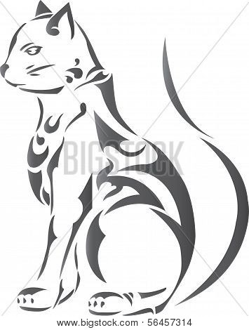 Decorative gray cat ornamen ,tattoo design