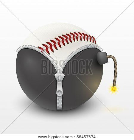 bola de cuero de béisbol dentro de un vector de bomba ardiente