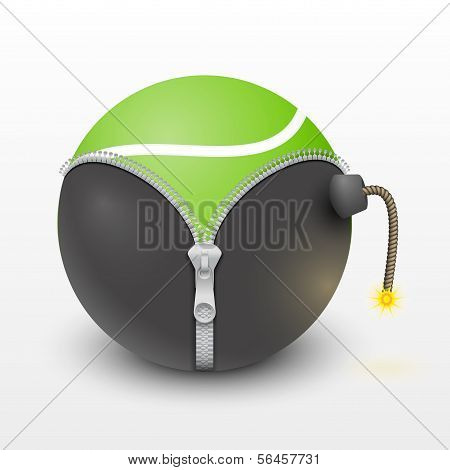 Tennis green ball inside a burning bomb vector