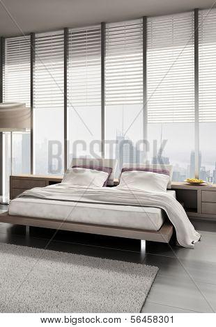 A 3D rendering of modern bedroom with floor to ceiling windows