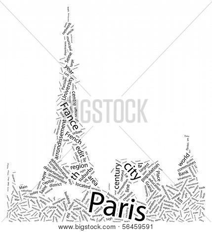 Paris - Tag Cloud with Shape of Eiffel Tower and Skyline