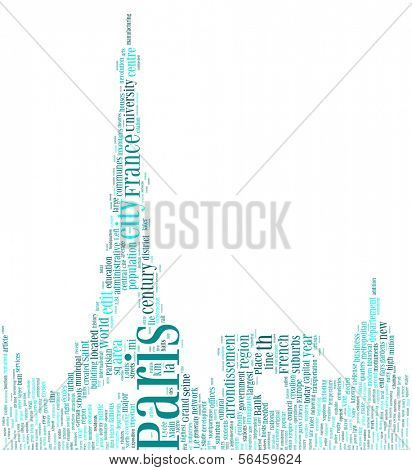 Paris - Tag Cloud with Shape of Eiffel Tower