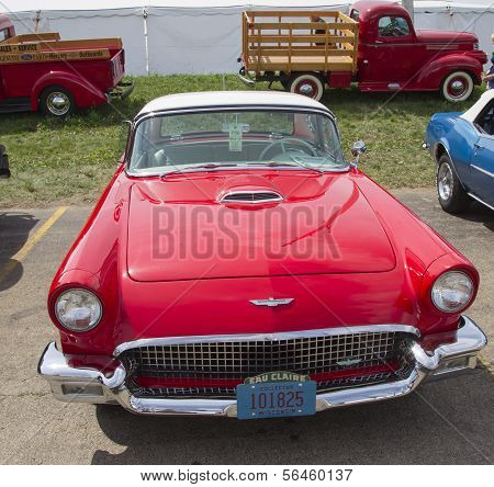 1957 Red Ford Thunderbird Front View