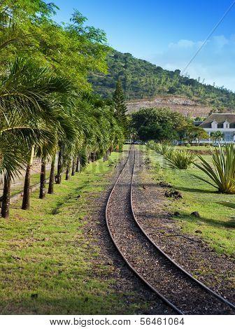 The ancient narrow gage railwayin tropical park, Mauritius.