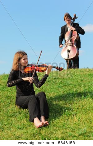 Violinist And Violoncellist Play On Grass Against Sky