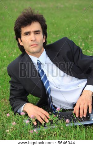 Businessman Lies On Grass With Laptop
