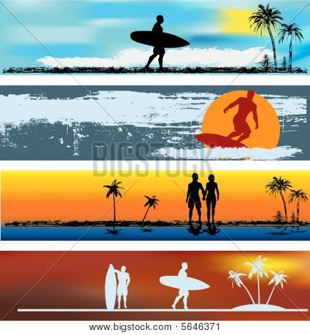 Tropical Beach Web Banner Templates