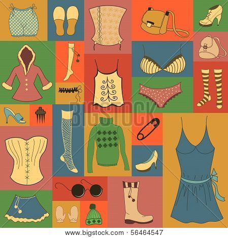 Retro hipsters clothes set