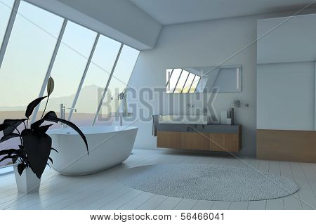 Amazing white bath room interior with huge glass window and landscape view | 3D Interior