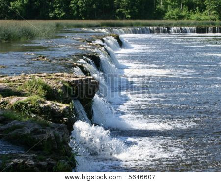 Waterfall Ventas Rumba, Kuldiga, Latvia. Widest In Europe