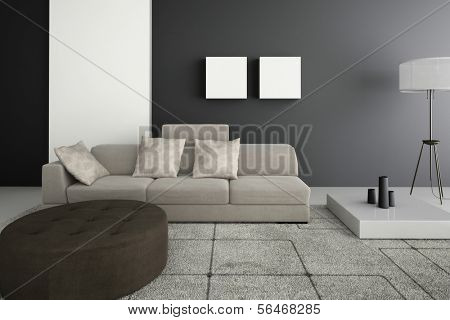 A 3D rendering of beige sofa