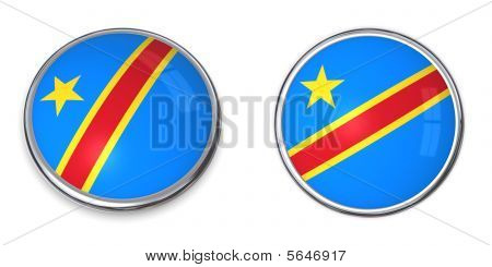 Banner Button Democratic Republic Of The Congo