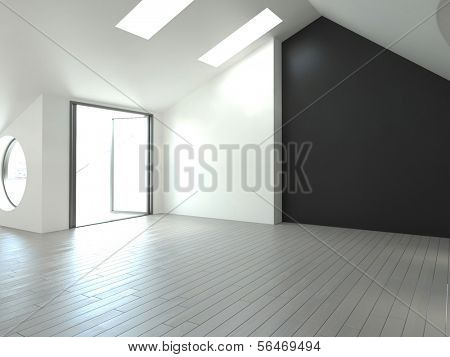A 3D rendering of empty loft interior