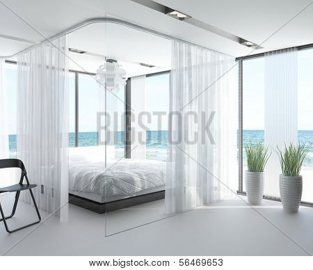 A 3D rendering of white bedroom interior with large bed