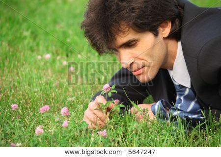 Kaufmann auf Gras liegend sieht im Clover flower