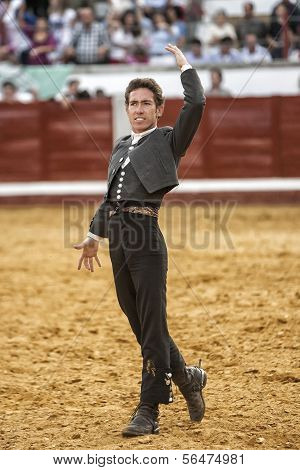Spanish bullfighter on horseback Leonardo Hernandez bullfighting on horsebackin a gesture of satisfa