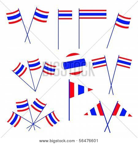 Set Of Thai Flag On White Background