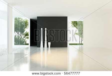 A 3D rendering of empty living room with vases