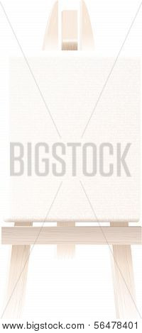 Empty blank canvas on wooden easel isolated on white. Vector illustration