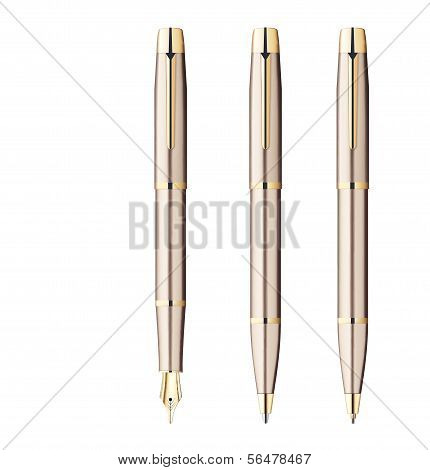 Fountain Pen, Ball Pen, Pencil Isolated On White. Vector Illustration