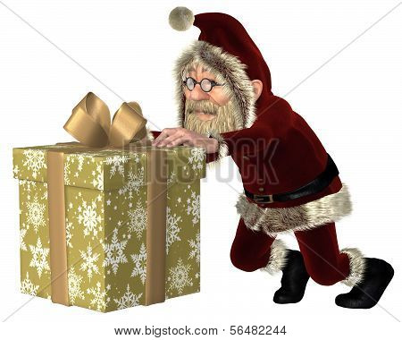Santa Claus Pushing a Christmas Gift