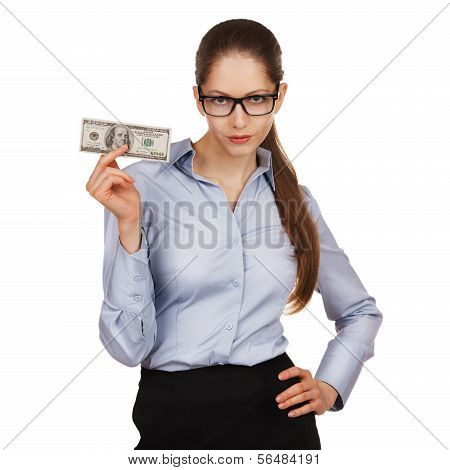 Girl With Glasses Holding A Hundred Dollar Bill