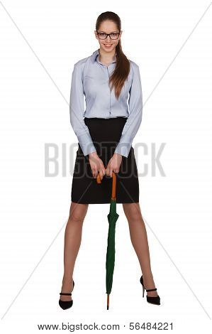 Woman Standing Leaning On An Umbrella