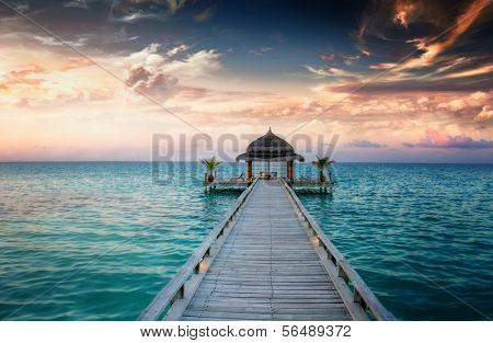 Idyllic arbor on water, Maldive Islands
