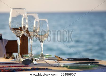 Glassware served in outdoor restaurant on resort