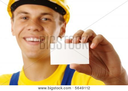 Worker Showing His Business Card And Smile