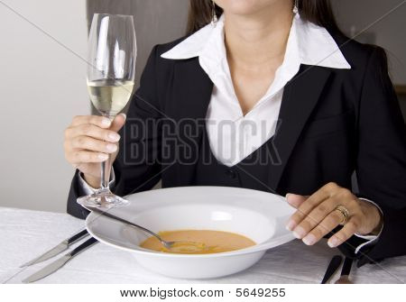 Business Woman Is Having Lunch