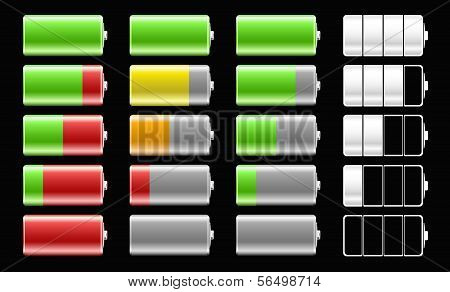 Battery Icons With Different Charge Levels For Mobile Devices.