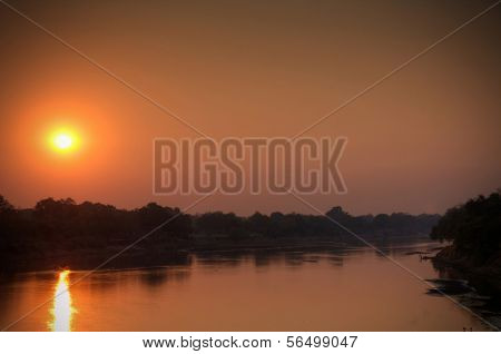 Panorama of  Luangwa River in dusk, South Luangwa National Park, Zambia, Africa
