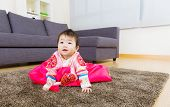 picture of hanbok  - Korean little girl creeping on carpet - JPG