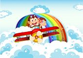 picture of monkeys  - Illustration of the playful monkeys riding on a plane near the rainbow - JPG