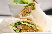 picture of pita  - falafel pita bread roll wrap sandwich traditional arab middle east food - JPG