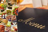 Montage of a menu and healthy Mediterranean style foods, breads, salmon, spaghetti, peppers, tomatoe