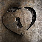 image of keyholes  - metal heart with keyhole - JPG