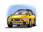 An illustration of small sport utility vehicle clipart.