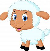 picture of counting sheep  - Vector illustration of Baby sheep cartoon isolated on white background - JPG